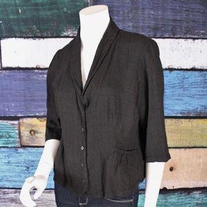Eileen Fisher Linen Blend Front Pocket Jacket